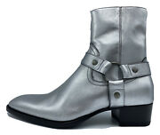 1300 Saint Laurent Silver Leather Boots Size Us 9 Made In Italy