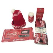 Coca Cola Lot Of Random Items Bank Puzzle License Plate Frame Can Coolers