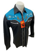 Men Rodeo Western Black Teal Stitch Long Sleeve Woven Snap Up Shirt Cowboy 506