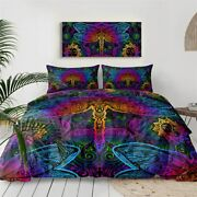 Mandala Floral Dragonfly Insect King Queen Twin Quilt Duvet Pillow Cover Bed Set