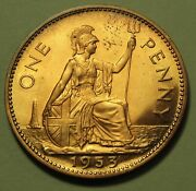 1953 Great Britain 1 Penny Proof Coin Uk English Queen Elizabeth Coronation Year