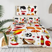 Spain Spanish Ball Wine Food King Queen Twin Quilt Duvet Pillow Cover Bed Set