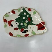 Lenox Charlie Brown And Snoopy Christmas Tree Lights Ceramic Cookie Platter Red