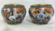 2 Vintage Hand Painted Fish Bowls 5h