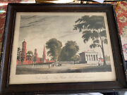 Yale College And State House, New Haven Framed Print 19th Cent. Original Print