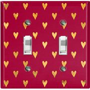 Metal Light Switch Cover Wall Plate For Room Damask Burgundy Hearts Dam069