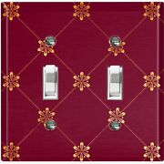 Metal Light Switch Cover Wall Plate For Room Damask Burgundy Flowers Dam070