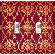 Metal Light Switch Cover Wall Plate For Room Damask Burgundy Gate Dam071
