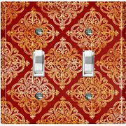 Metal Light Switch Cover Wall Plate For Room Damask Burgundy Gate Dam073