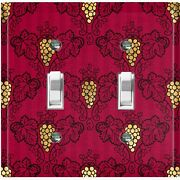 Metal Light Switch Cover Wall Plate For Room Damask Burgundy Grapes Dam074