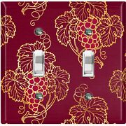 Metal Light Switch Cover Wall Plate For Room Damask Burgundy Grape Leaf Dam075