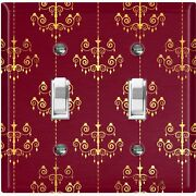 Metal Light Switch Cover Wall Plate For Room Damask Burgundy Chandelier Dam079
