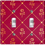 Metal Light Switch Cover Wall Plate For Room Damask Burgundy Tufted Rose Dam080