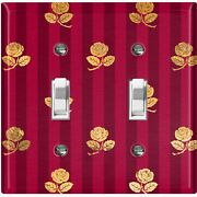 Metal Light Switch Cover Wall Plate For Room Damask Burgundy Stripe Roses Dam081