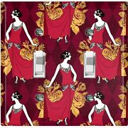 Metal Light Switch Cover Wall Plate For Room Damask Burgundy Fancy Lady Dam083