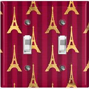 Metal Light Switch Cover Wall Plate For Room Damask Burgundy Eiffel Tower Dam084