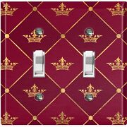Metal Light Switch Cover Wall Plate For Room Damask Burgundy Crown Dam085