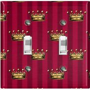 Metal Light Switch Cover Wall Plate For Room Damask Burgundy Crown Dam086