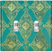 Metal Light Switch Cover Wall Plate For Room Damask Green Dam087