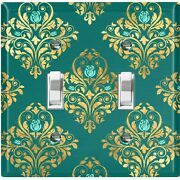 Metal Light Switch Cover Wall Plate For Room Damask Green Teal Rose Dam088