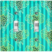 Metal Light Switch Cover Wall Plate For Room Damask Teal Stripe Grapes Dam089
