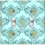 Metal Light Switch Cover Wall Plate For Room Damask Teal Grapes Dam090
