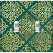 Metal Light Switch Cover Wall Plate For Room Damask Elegant Green Dam091