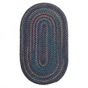 Worley Navy Blue Multi Oval Rustic Country Farmhouse Braided Area Rug