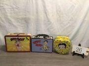 New Lot 3 Betty Boop Rare Tin Metal Carrying/lunch Boxes Diner Dvd's Heart Shape
