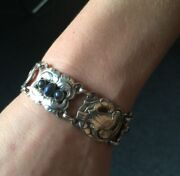 Georg Jensen Sterling Silver Dove Bracelet With Synthetic Cabochon Sapphires N