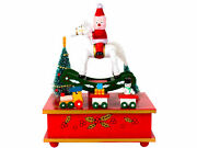 Christmas Music Box Figure With Red Horse And Train