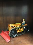 Marx Tin Litho Orange Tractor With Plow Windup Toy