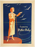 1920s Pathe Baby Swiss Camera Product Advertising Poster - 20s - Linen Backed