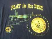 John Deere Play In The Dirt T-shirt Black Size Xl Tractor Graphics Farmer-style