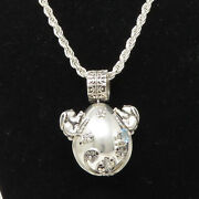 Nyjewel Bryan 925 Large 2 Silver Topaz Amethyst Easter Egg Pendant Necklace 30