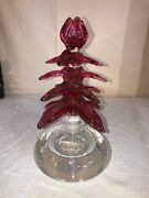 Pairpoint Art Glass Controlled Bubble Paperweight Cologne Bottle Mid Century Mod