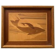 Vintage Hudson River Art Jeffrey Nelson 1983 Marquetry Minke Whale Mother And Calf