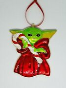Baby Yoda - Themed Holding A Candy Cane Christmas Ornament