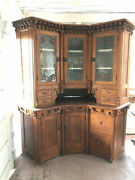 Spectacular Vintage Early American Corner Cabinet Handcrafted