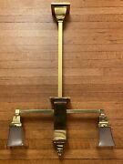 Antique Arts And Crafts Mission Period Brass Light Fixture - Two Square Lights
