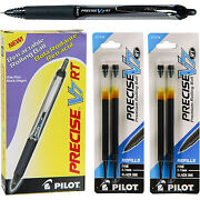 Pilot Precise V7 Rt, Black Ink, 0.7mm Fine Point, 12 Pens With 2 Pack Of Refills