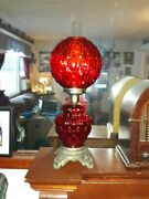 Antique Red Glass Gone With The Wind 3-way Table Lamp Quilted And Coin Optic Globe