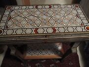 Mosaic Syrian Game Table Wood Mother Of Pearl With Card And Chess