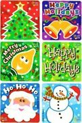 6 X Square Stickers Glow In Dark Santa Bell Tree Merry Christmas Holiday