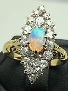 Black Opal And Diamond Marquise Ring Victorian 18ct Gold Elegant Size L1/2 Superb
