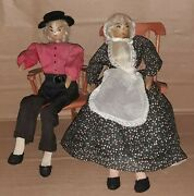 Antique Pair Handmade Dolls Bendable Legs Couple With Rocking Chairs