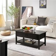Lift Top Coffee Table W/ Hidden Storage Compartment And 1 Open Shelf Living Room