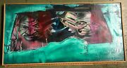 Vintage Painting Rogue Citizens Ghandi On Canvas World Icons Abstract Peace