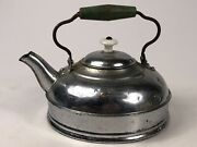 Veg Revere Teapot Kettle Old Green Painted Wood Handle Nickel On Copper