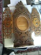Victorian Hand Carved Inlaid Folding Table/ Vanity Mirror
